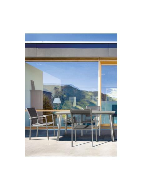 Stapelbare tuinstoel Inez met armleuningen, Frame: gesatineerd aluminium, Zitvlak: Textilene, Staal, grijs, B 54 x D 57 cm