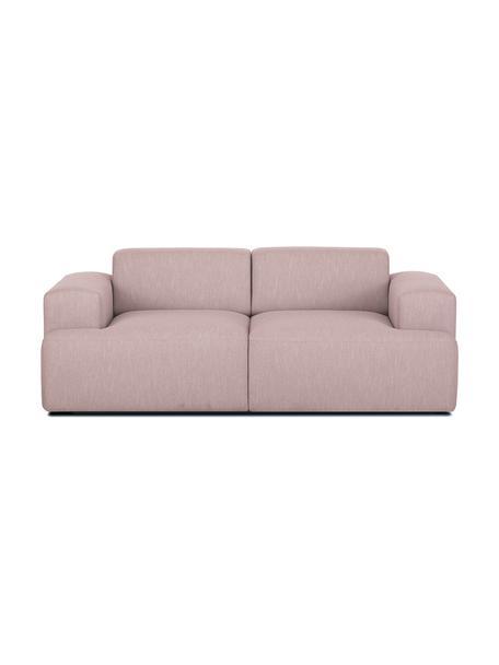 Bank Melva (2-zits) in roze, Bekleding: polyester, Frame: massief grenenhout, spaan, Poten: grenenhout De poten bevin, Geweven stof roze, B 200 x D 101 cm