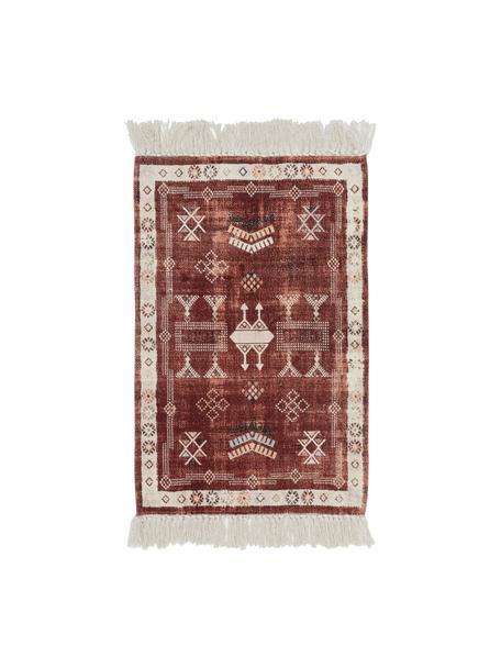 Katoenen vloerkleed Tanger met franjes, 100% katoen, Terracottakleurig, crèmekleurig, B 60 x L 90 cm (maat XXS)