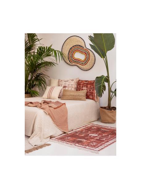 Dywan z bawełny z frędzlami Tanger, 100% bawełna, Terakota, odcienie kremowego, S 60 x D 90 cm (Rozmiar XXS)