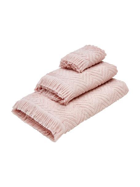 Set 3 asciugamani Jacqui, 100% cotone, qualità media 490 g/m², Rosa, Set in varie misure