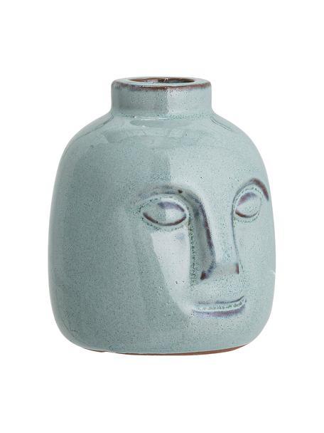 Handgefertigter Kerzenhalter Brit, Steingut, Blau, Ø 9 x H 9 cm