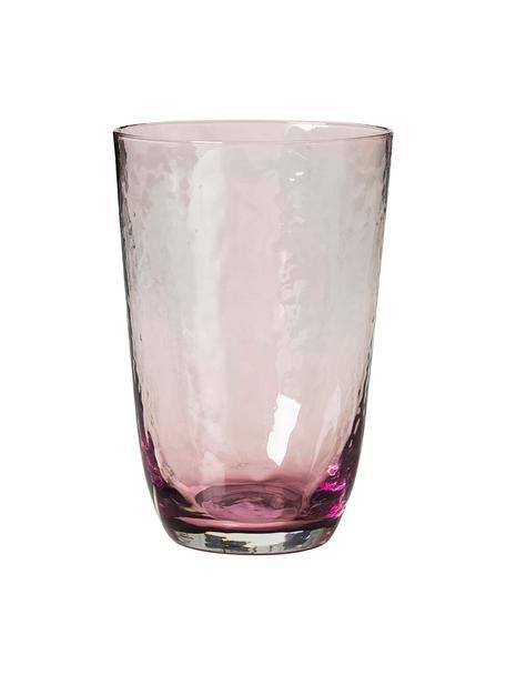 Szklanka do wody ze szkła dmuchanego  Hammered, 4 szt., Szkło dmuchane, Lila, transparentny, Ø 9 x W 14 cm