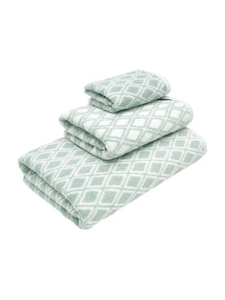 Dubbelzijdige handdoekenset Ava, 3-delig, 100% katoen, middelzware kwaliteit, 550 g/m², Mintgroen, crèmewit, Set met verschillende formaten