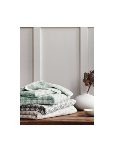 Komplet dwustronnych ręczników Ava, 3elem., Miętowozielony, kremowobiały, Komplet z różnymi rozmiarami