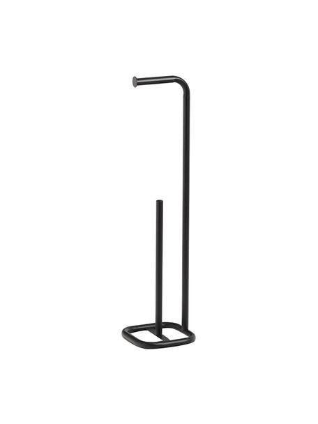 Portarrollos de baño de metal Mella, Metal recubierto, Negro, Ø 18 x Al 73 cm