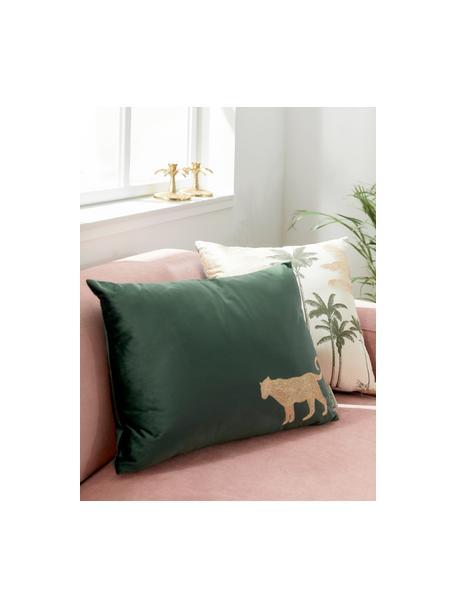 Haftowana poduszka z aksamitu  z wypełnieniem Single Leopard, 100% aksamit (poliester), Zielony, odcienie złotego, S 40 x D 55 cm