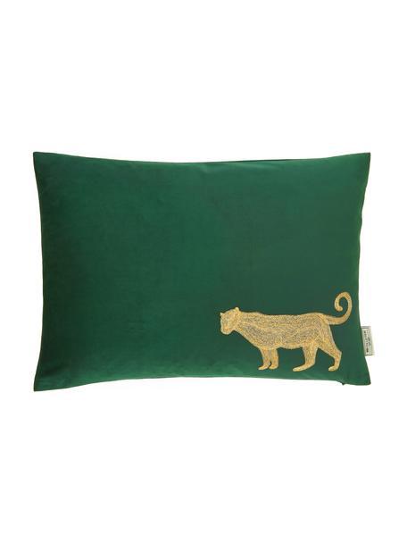 Geborduurd fluwelen kussen Single Leopard in groen/goudkleur, met vulling, 100% fluweel (polyester), Groen, goudkleurig, 40 x 55 cm