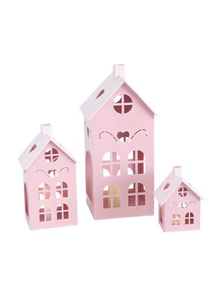 Windlichtenset Kufstein, 3-delig, Gecoat metaal, Roze, Set met verschillende formaten