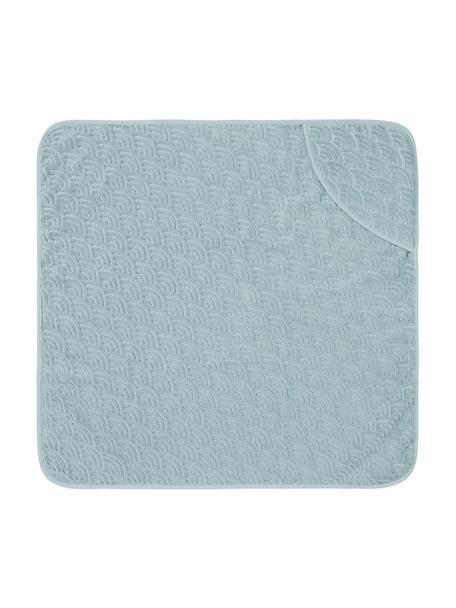Ręcznik kąpielowy dla dzieci  z bawełny organicznej Wave, 100% bawełna organiczna, Niebieski, S 80 x D 80 cm