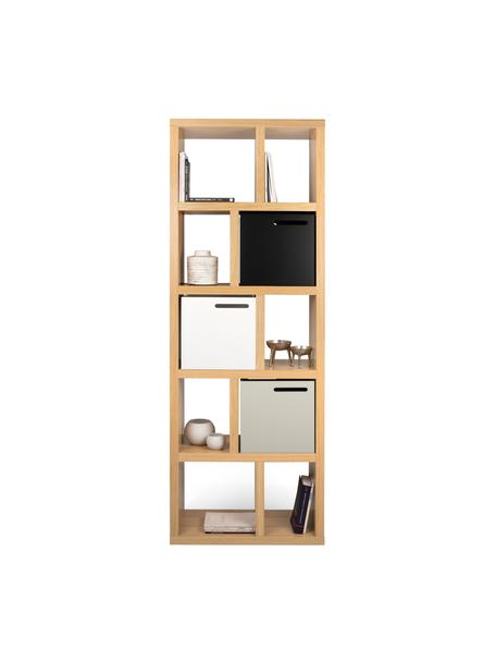 Regał na książki z forniru z drewna dębowego Portlyn, Drewno dębowe, S 70 x W 198 cm