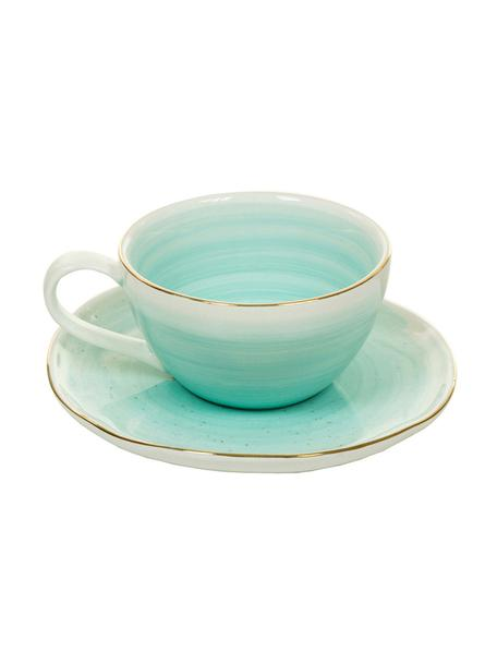 Handgemaakte espressokopjes met schoteltjes Bella met goudkleurige rand, 2 stuks, Porselein, Turquoiseblauw, Ø 9 x H 5 cm