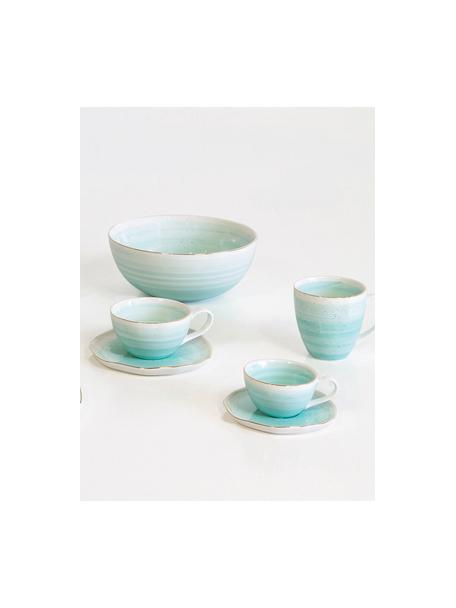 Tazzina con piattino fatti a mano Bella 2 pz, Porcellana, Blu turchese, Ø 9 x Alt. 5 cm