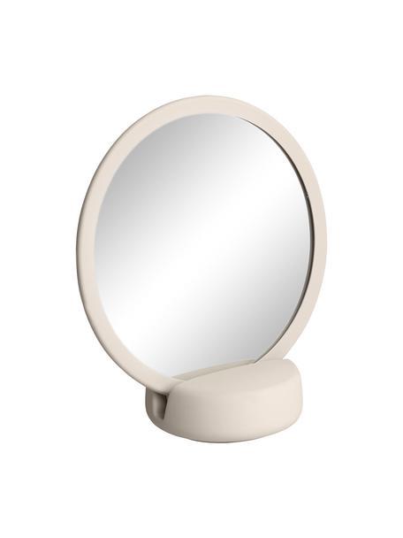 Kosmetikspiegel Sono mit Vergrößerung, Spiegelfläche: Spiegelglas, Rahmen: Keramik, Beige, 17 x 19 cm