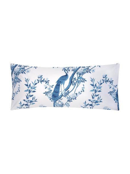 Funda de almohada de percal Annabelle, 45x110cm, Blanco, azul, An 45 x L 110 cm