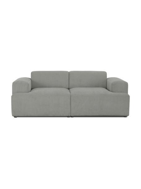 Sofa ze sztruksu Melva (2-osobowa), Tapicerka: sztruks (92% poliester, 8, Stelaż: lite drewno sosnowe, cert, Nogi: tworzywo sztuczne, Sztruksowy szary, S 198 x G 101 cm