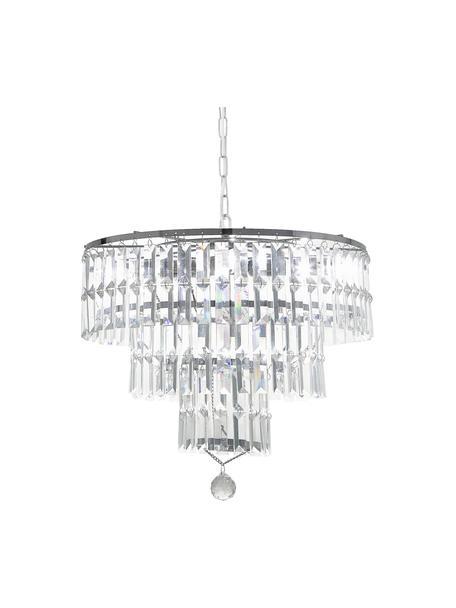 Lampadario a soffitto in vetro Empire, Paralume: vetro, Struttura: acciaio cromato, Baldacchino: acciaio cromato, Cromo, trasparente, Ø 48 x Alt. 43 cm