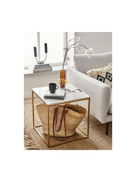 Tavolino con piano in marmo Alys, Struttura: metallo verniciato a polv, Piano: marmo bianco-grigio Struttura: dorato lucido, Larg. 45 x Alt. 50 cm