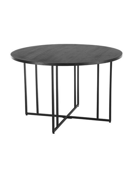 Runder Esstisch mit Mangoholz, Tischplatte: Massives Mangoholz, gebür, Gestell: Metall, pulverbeschichtet, Schwarz, Ø 120 x H 75 cm