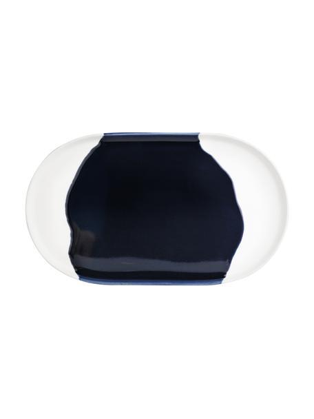 Vassoio decorativo in gres bianco/blu scuro Contrast, Gres con smalto, Blu scuro, bianco, Larg. 30 x Prof. 18 cm