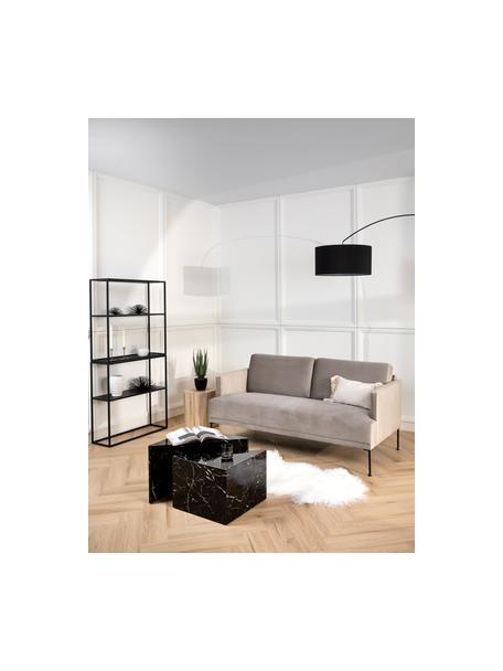 Samt-Sofa Fluente (2-Sitzer) in Beige mit Metall-Füssen, Bezug: Samt (Hochwertiger Polyes, Gestell: Massives Kiefernholz, Samt Beige, B 166 x T 85 cm