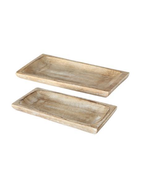 Deko-Tablett-Set Bornholm, 2-tlg., Mangoholz, Braun, Set mit verschiedenen Größen