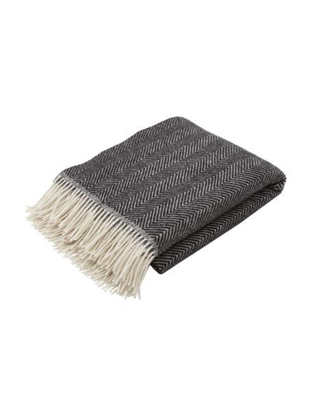 Coperta in lana color antracite con motivo a spina di pesce e frange Triol-Mona, 100% lana, Antracite, Larg. 140 x Lung. 200 cm
