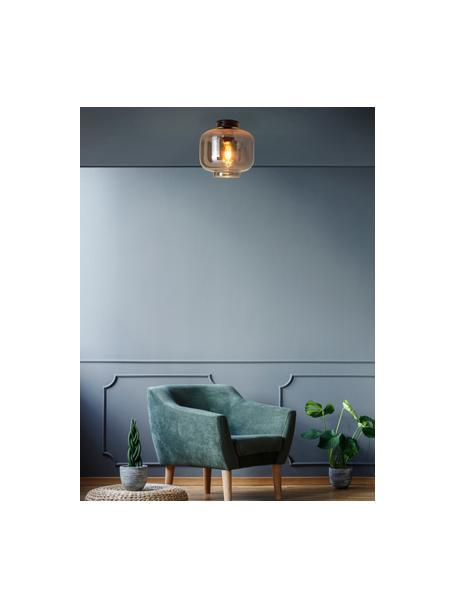 Lampada da soffitto in vetro specchiato Vaso, Paralume: vetro, Baldacchino: metallo rivestito, Cromo specchiato, nero, Ø 25 x Alt. 21 cm