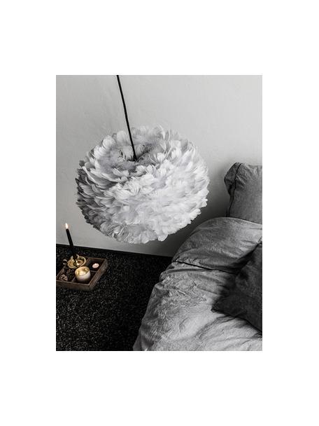 Pendelleuchte Eos aus Federn, Lampenschirm: Gänsefedern, Baldachin: Kunststoff, Hellgrau, Ø 45 x H 30 cm