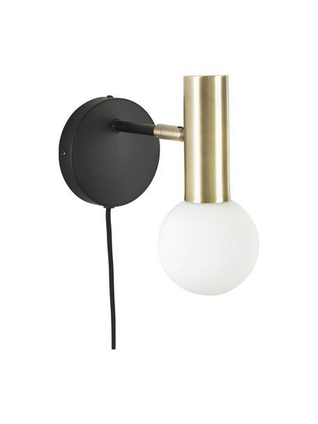 Aplique de vidrio Wilson, con enchufe, Pantalla: vidrio opalino, Fijación: metal con pintura en polv, Cable: cubierto en tela, Negro, dorado, An 12 x Al 22 cm