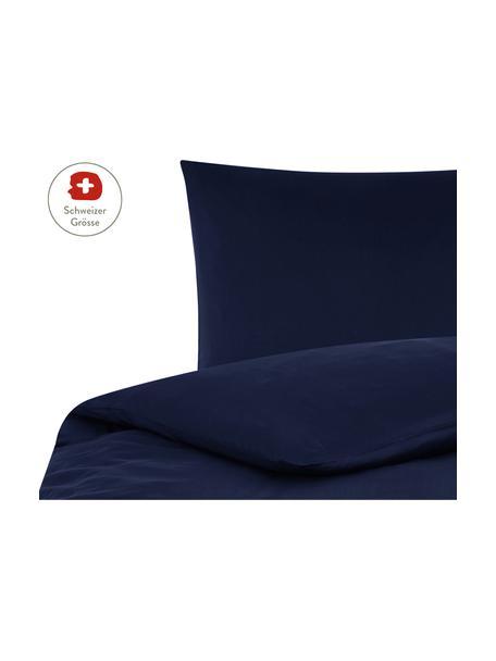 Baumwollsatin-Bettdeckenbezug Comfort in Dunkelblau, Webart: Satin, leicht glänzend Fa, Dunkelblau, 160 x 210 cm
