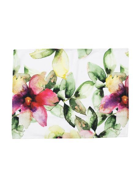 Placemats Floreale met bloemmotief, 2 stuks, 100% katoen, Wit, multicolour, 38 x 50 cm