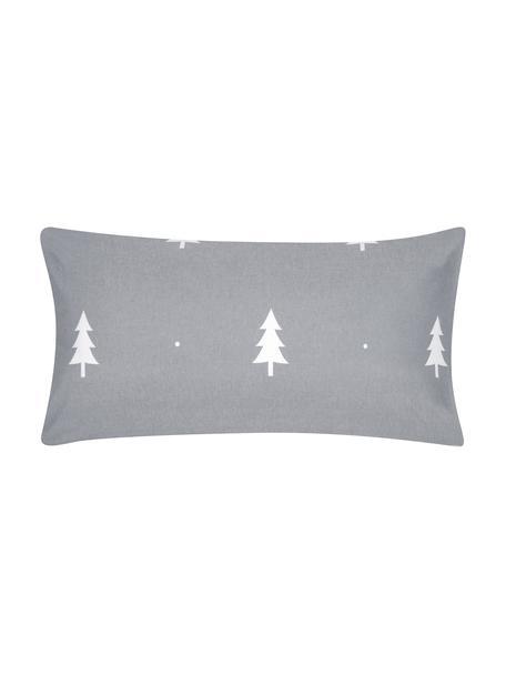 Poszewka na poduszkę z flaneli X-mas Tree, 2 szt., Ciemny szary, kremowobiały, S 40 x D 80 cm