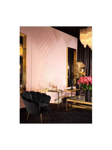 Fluwelen fauteuil Trapezium in zwart, Bekleding: 70% viscose, 30% polyeste, Poten: gecoat metaal, Zwart, messingkleurig, B 97 x D 79 cm