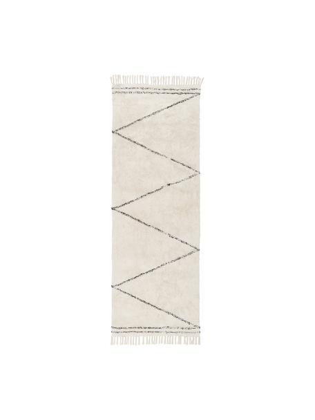 Handgetufte katoenen boho loper Asisa met zigzag patroon en franjes, 100% katoen, Beige, zwart, Ø 110 cm (maat S)
