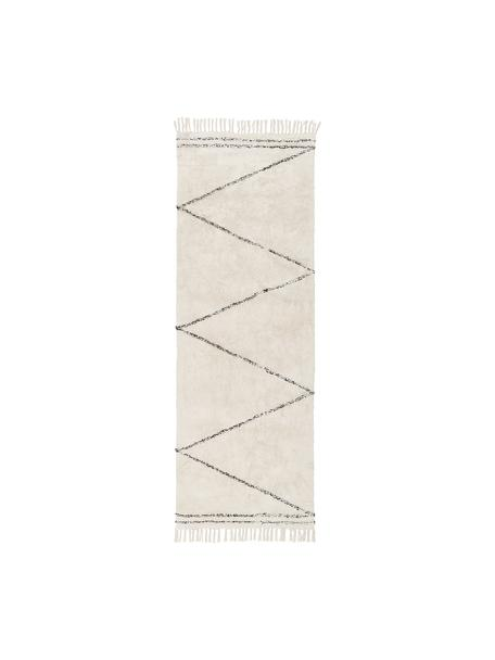 Passatoia in cotone taftata a mano con motivo a zigzag e frange Asisa, 100% cotone, Beige, nero, Larg. 80 x Lung. 250 cm