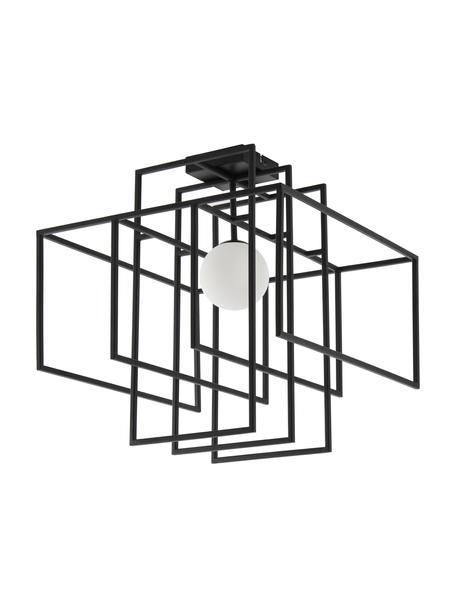 Design plafondlamp Rubic met glazen lampenkap, Lampenkap: opaalglas, Baldakijn: gepoedercoat metaal, Zwart, 40 x 43 cm