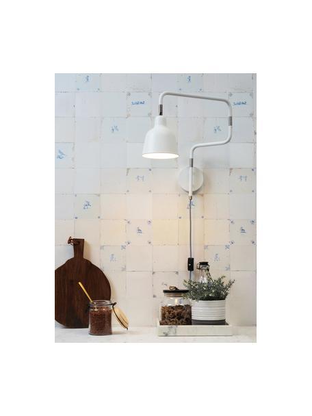 Aplique Multi, con enchufe, Pantalla: metal pintado, Estructura: metal pintado, Cable: cubierto en tela, Blanco, An 63 x Al 40 cm