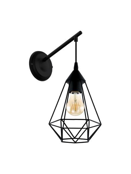 Wandleuchte Tarbes aus Metall, Lampenschirm: Stahl, Gestell: Stahl, Schwarz, 16 x 38 cm
