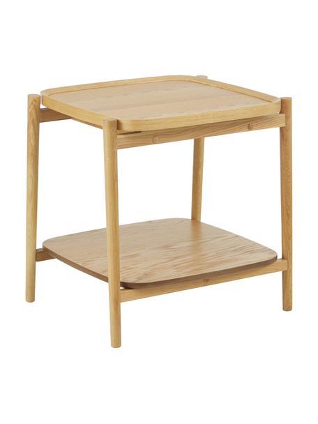 Tavolino in legno di quercia Libby, Struttura: legno massiccio di querci, Marrone chiaro, Larg. 49 x Alt. 50 cm