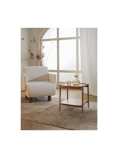 Stolik pomocniczy z drewna dębowego Libby, Stelaż: lite drewno dębowe, lakie, Jasny brązowy, S 49 x W 50 cm