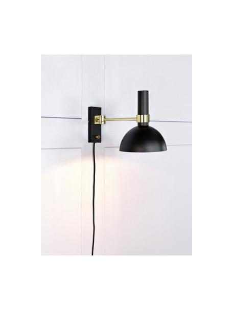 Dimbare wandlamp Larry met stekker, Lampenkap: gelakt messing, Frame: messing, Zwart, messingkleurig, 19 x 24 cm