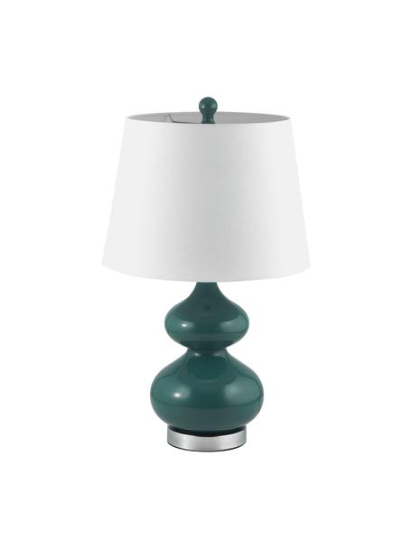 Grote tafellampen Felicitas, 2 stuks, Lampenkap: katoen, Lampvoet: gelakt glas, Voetstuk: metaal, Groen, Ø 35 x H 58 cm