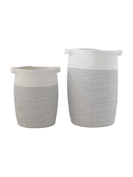 Set de cestas Heba, 2uds., 100%algodón, Gris, blanco, Set de diferentes tamaños