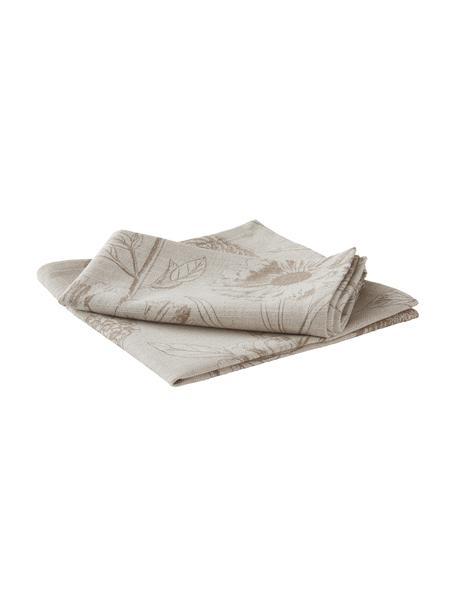 Stoff-Servietten Freya mit Blumenprint, 2 Stück, 86% Baumwolle, 14% Leinen, Beige, Braun, 42 x 42 cm