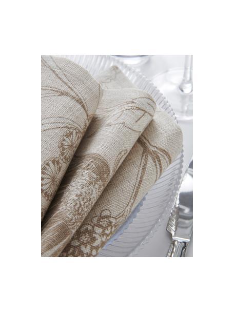 Tovagliolo in stoffa con stampa floreale Freya 2 pz, 86% cotone, 14% lino, Beige, marrone, Larg. 42 x Lung. 42 cm