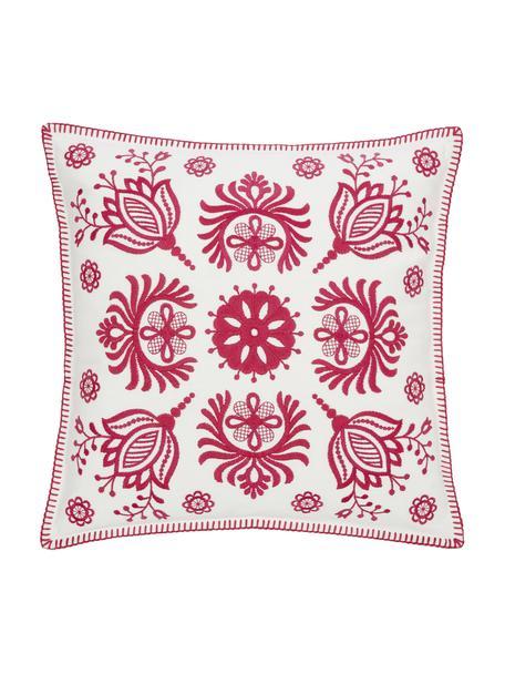 Funda de cojín bordada Folk, 100%algodón, Rosa, blanco, An 45 x L 45 cm