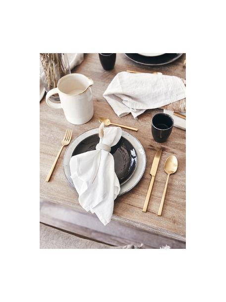 Piattino da dessert fatto a mano Nordic Coal 4 pz, Gres, Marrone scuro, Ø 20 x Alt. 2 cm