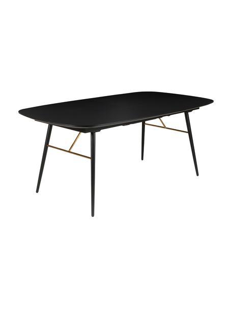 Mesa de comedor extensible Verona, Tablero: tablero de fibras de dens, Negro, latón, An 180-230 x F 105 cm