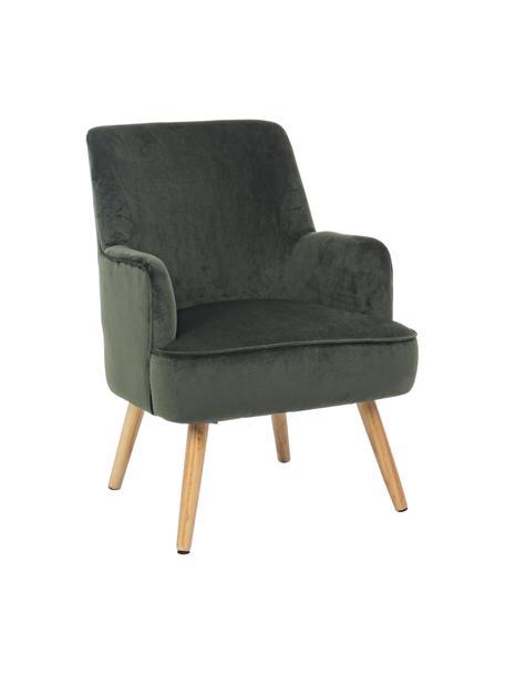 Fotel z aksamitu Adeline, Tapicerka: aksamit poliestrowy, Nogi: drewno dębowe, Stelaż: drewno sosnowe, Zielony leśny, S 60 x G 67 cm